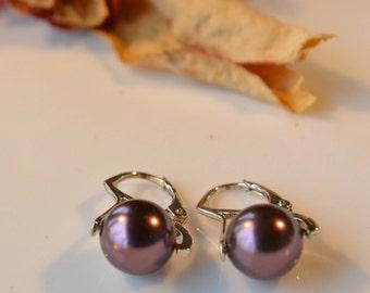 Burgundy Swarovski Pearl Earrings Red Pearl Earrings Sterling Silver Earrings Classic Pearl Earrings Burgundy Earrings Bridesmaid Earrings