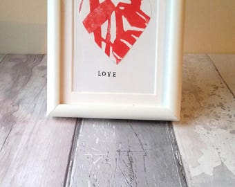 Heart screen print, Valentines framed print, framed Valentines gift, heart silkscreen print, art print, heart print, screen print, red print