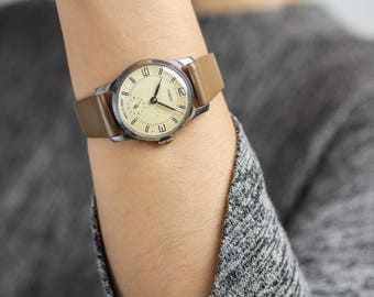 Vintage ladies watch Pobeda – soviet mechanical woman watch – leather watch womens – gift for her 60s