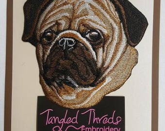 "Pug Dog Embroidered Patch 5.2"" x 4.8"""
