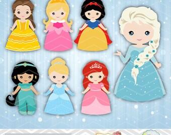 Digital Princess Clipart, Princess Clip Art, Fairy Tale Princess Digital Clipart, Princess Clipart, Birthday Party Invitation, 0169