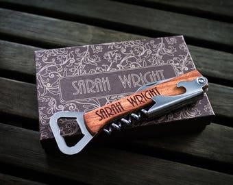 Custom Bottle Opener, Bridesmaid Gift, Personalized Bottle Opener, Groomsmen Gift, Wedding Gift, Engraved Corkscrew, Custom Wine Opener