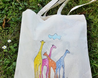 Giraffe bag, hand painted giraffes, Cotton tote bag, shopping bag, grocery bag, books bag, big bag, Unique Item