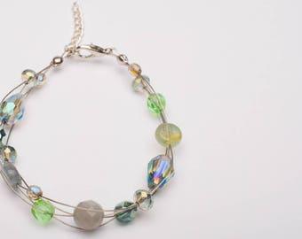 Seafoam Multi Strand Glass Bead Bracelet