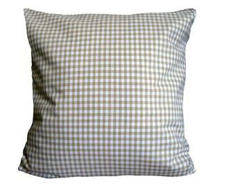 Pillow case, beige-white plaid
