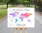 World Map Guest Book Canvas, Map Guestbook Wedding, Travel Destination Signature Guest Book, Wedding Guest Book Alternative, Guest Book Map