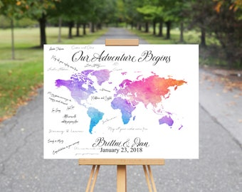 Map guest book etsy world map guest book canvas map guestbook wedding travel destination signature guest book gumiabroncs Choice Image