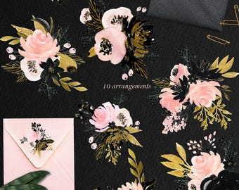 Blush pink, black and gold watercolour flowers clipart, hand drawn: ARRANGEMENTS.. Glam and chic blush pink and black and gold colors.