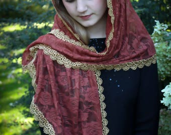 "Evintage Veils~""Our Lady of the Fields"" Wildflowers Chapel Veil Mantilla Roses Wrap Veil"