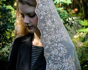 Evintage Veils~ Regina Caeli Rose Gold Champagne  Lace Chapel Veil Mantilla D Shaped Latin Mass-LONG