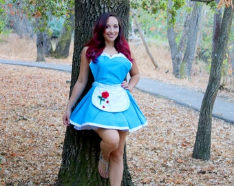 Beauty and the Beast inspired Retro Pinup Belle Work Cosplay Apron Dress Costume