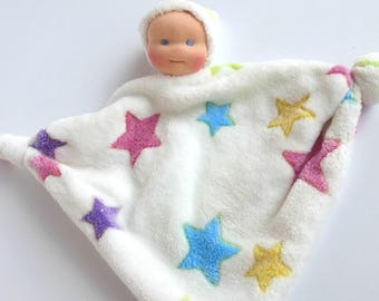 baby first doll, minky lovey, Waldorf first dolls for baby girls, knot doll, Christmas baby gift, blanket doll, Baby girl lovey, Baby toy