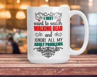 Funny Walking Dead Coffee Tea Mug, Ceramic Halloween Walking Dead Cup, Custom Coffee Lover Gift Idea, TWD AMC Walker, Gift for Her Him