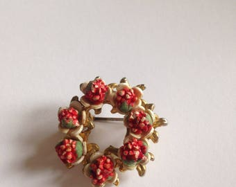 1930s Wreath Brooch with Red Flowers