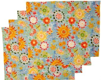 Large Cloth Place Mats - Set of 4 - Bright Blue Wild Flowers -  Reversible