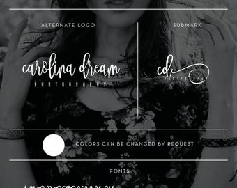 Cursive Photography Branding Kit, Feminine Branding Package, Rustic Logo, Calligraphy Logo, Swirly Logo Initials Branding and Business Cards