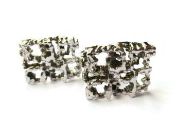 1971 sterling silver brutalist cufflinks, London import rectangular modernist cuff links, large heavy shirt accessories, gift for men #1110.