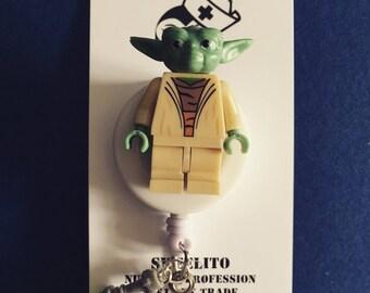 Star Wars© Yoda™ Jedi ~ ID Holder Customized with Brick® Minifigure ~ Badge Reel ~ Belt Clip ~ Alligator Clip ~ Keychain Cufflinks Nurse MD