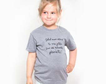 T-shirt, unisex, Heather grey, quote kids cotton organic recycled polyester, screenprint, tall child.