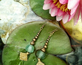 Sea Glass Tribal earrings made with Ethnic bronze charms and beads.