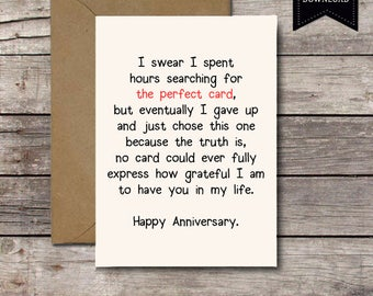 THE PERFECT CARD / Happy Anniversary / Romantic Card Printable Anniversary  Cards I Love You Him  Printable Anniversary Cards For Him