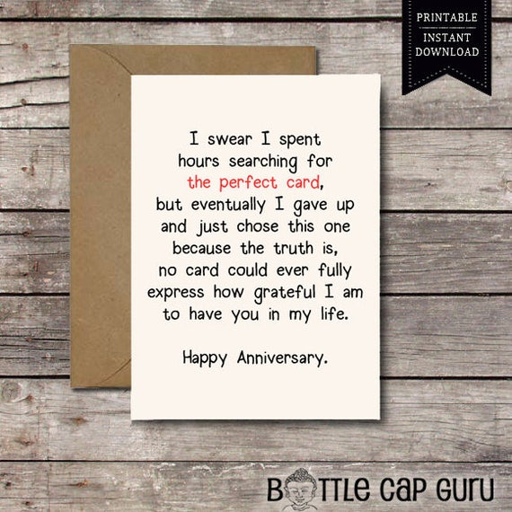 THE PERFECT CARD / Happy Anniversary / Romantic Card Printable Anniversary  Cards I Love You Him Her Printable Greeting Cards Jpg Download  Printable Anniversary Cards For Her