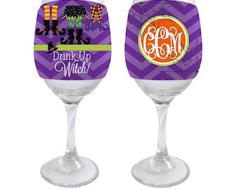 Drink Up Witch Personalized Halloween Wine Glass Huggie/Beverage Insulator