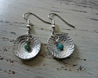 Sterling Silver Textured Hanging Earrings with Faceted Blue Bead