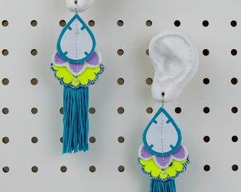 COLOURFUL STATEMENT EARRINGS with turquoise tassels. Light weight, oversize earrings, cut from recycled fabrics and stitched by hand.