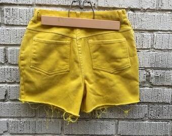 60s Denim Cut Off. 1960s Yellow High Waist Jean Shorts. Small.