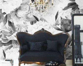 Peonies Flowers Mural Black Removable Wallpaper, Wall Mural, Peel And  Stick, Floral Wallpaper Part 83