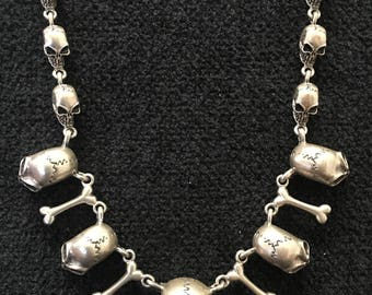 Necklace ~ Multi Skulls and Bones Cast Sterling Silver Charms