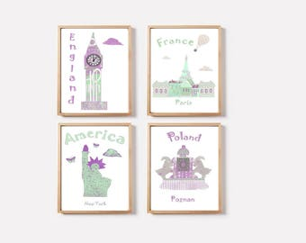 105,Nursery wall decor,baby girl art,baby decor,travel nursery,England,France,USA,Poland,purple,mint