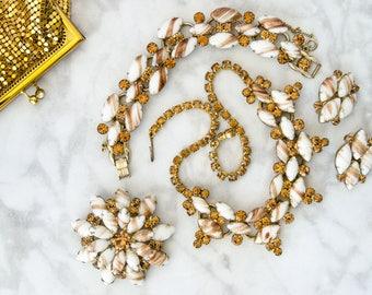 Delizza & Elster Jewelry Set - Mid Century Juliana Earrings - Mad Men - Vintage Rhinestone Brooch - Bridal Necklace for Autumn Wedding