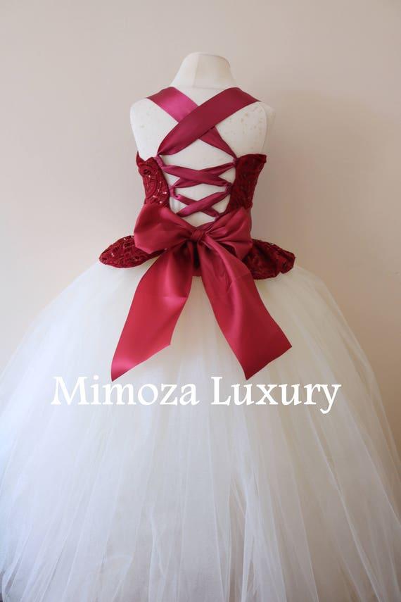 Burgundy Flower Girl Dress, burgundy bridesmaid dress, couture flower girl gown, bespoke girls dress, tulle princess dress, burgundy tutu