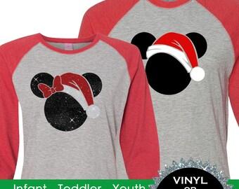 Family Christmas Mickey Santa Shirts Vintage 3/4 sleeve raglans - Mickey's Very Merry Christmas BD865 SHOWN RED-GREY /black-white-red