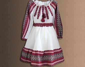 Ukrainian Children's costume Ukrainian embroidery Blouse and Skirt Cotton Folk costume Vyshyvanka