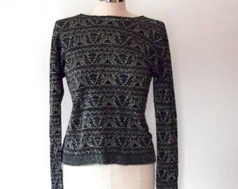 Black and silver metallic sweater / vintage / 1960s / knitted top / stretchy / lurex / medium size / fine knit / jumper / long sleeve top