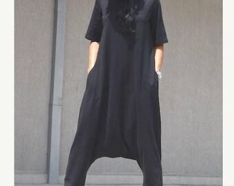 Maxi black jumpsuit, maxi jumpsuit, harem jumpsuit, handmade jumpsuit, oversize jumpsuit, low crotch jumpsuit, woman loose jumpsuit