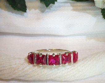 Elegant Five Stone Ruby Ring ~ 925 Sterling Silver ~ Size 6.75