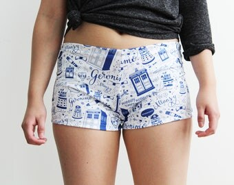 Doctor Who Shorts, Sweat Resistant, Lounge Shorts, Yoga Shorts, Activewear, Loungewear, Tardis, Dalek, Cybermen, Sleepwear, Summer