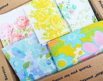 Vintage Sheet Wide Hems Scrap Pack. 47 Hems. 6+ lbs. Stash Builder. Floral. Quilt Top Kit. Jelly Roll.1600 Quilt. Retro Fabric. Bundle 07