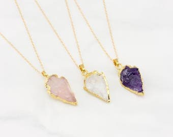 Gemstone Arrow Necklace, Rose Quartz, Amethyst, Quartz Necklace, Genuine Gemstone Necklace, Bridesmaid Jewelry, Mother's Day Gift