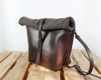 Leather bag, camera leather bag, cross body bag, shoulder brown leather bag, shoulder bag, camera bag, roll top bag