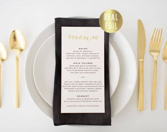 annabelle gold foil wedding menus // gold foil / rose gold foil / silver foil modern calligraphy custom luxe romantic wedding menu