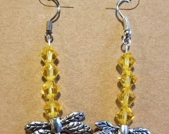 Yellow Swarovski Crystal Dragonfly Earrings, Dragonflies, Swarovski Crystal, Sunshine Earrings, Happy earrings, Yellow Wings