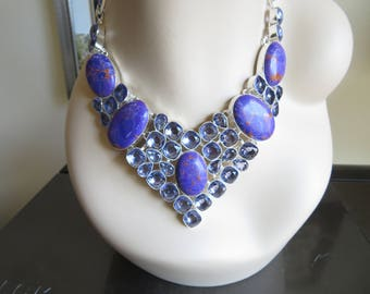Genuine Purple Copper Turquoise & Faceted Amethyst Gemstones Sterling Silver 925 Choker 16-18 Inches Long, Weight 126 G