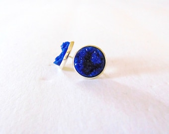 faux druzy earrings- blue ( blue druzy earrings, druzy studs, blue druzy studs)