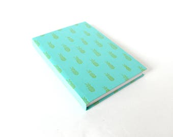 Pineapples Hardcover Notebook in Turqoise & Yellow with Dot Grid Pages - Notebook for Lettering, Drawing to Scale, Gift for Artist, Writer