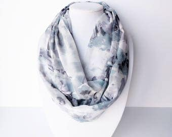 Summer Infinity Scarf, Gray Infinity Scarf, Fashion Scarf, Lightweight, Boho Scarf, Ladies Summer, Abstract Scarves, Purple Blue